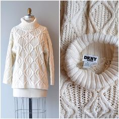 NEW! vintage DKNY cotton cable knit sweater  s/m by deargolden