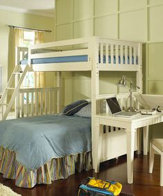 Jazz up any bedroom with this unique, sturdily constructed bunk bed. Featuring an angled access ladder and safety guards for the top bunk, it has slatted headboards with a clean finish for a beautiful look.