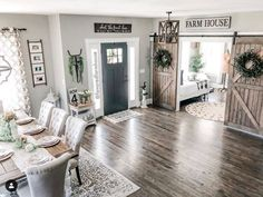 Stunning decor by . Home Living Room, Apartment Living, Living Spaces, Ranch Style Decor, Welcome To My House, Farmhouse Interior, Farmhouse Decor, Farmhouse Style, Interior Decorating