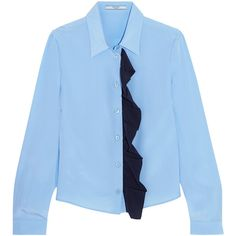 Prada Ruffled silk crepe de chine shirt (56,345 INR) ❤ liked on Polyvore featuring tops, light blue, shirt top, blue silk top, loose fitting tops, prada shirt and loose shirts