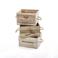 Recycled Wine Boxes with Rope Handles