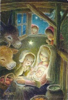 Vintage Christmas Cards, Christmas Art, Christmas Decorations, Catholic Kids, O Holy Night, Mother And Child, Big Eyes, Cute Drawings, Vintage Art