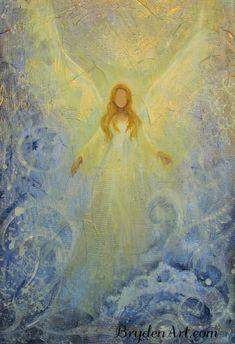"""5""""x 7"""" Original Angel Painting Spiritual Inspirational Healing Energy by Breten Bryden BrydenArt.com #BrydenArt.com"""