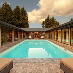 U shaped house with pool on pinterest u shaped houses for U shaped house plans with pool