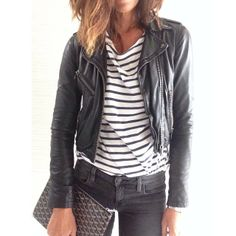 Grey Skinny Jeans, Black and White Striped Shirt, Cropped Black Leather Moto Jacket... Simple Rocker