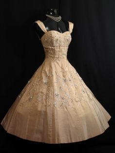 1950's Gold Beaded Taffeta Party Dress