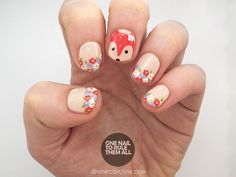 Paint everyone's favorite woodland creature on your nails with this adorable floral fox nail art tutorial. #fox #foxnails #nailart