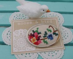 small framed vintage embroidery or add doily to framed embroidery
