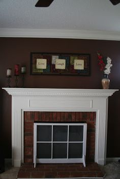 Delightful Fireplace Cover Up...link Doesnu0027t Lead To A Page But I Want To Keep The  Picture As A Visual. | Outdoor Space | Pinterest | Fireplace Cover, Mantle  And Fire ...