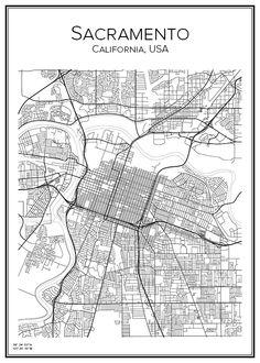 Sacramento. California. USA. Map. City print. Print. Affisch. Tavla. Tryck.