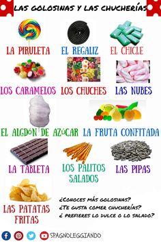 las #golosinas y las #chucherías #spagnoleggiando pdf --> https://loveidioms.wordpress.com/vocabolario-e-sinonimi/