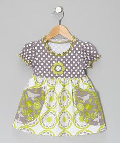 I love the grey and chartreuse combo.  It is even better since it has birds and dots!  Take a look at this Gray & Chartreuse Floral Pocket Swing Dress - Toddler & Girls by Baxter & Beatrice on #zulily today!