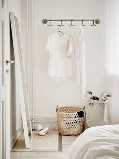 Could sew the big grey basket myself using unbleached fabric from ikea and left over wall paint in grey to harden it.. perfect Laundy Basket