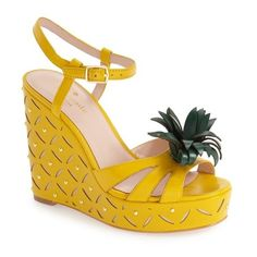Women's Kate Spade New York 'Dominica' Pineapple Wedge Sandal ($268) ❤ liked on Polyvore featuring shoes, sandals, dark yellow vachetta, wedge heel sandals, wedge sandals, pineapple shoes, yellow wedge sandals and wedge shoes