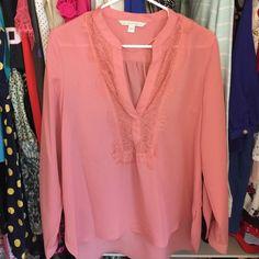 Sheer LC by Lauren Conrad top Longsleeve sheer top with lace neck. Never been worn. LC Lauren Conrad Tops Blouses