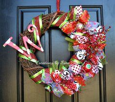 Whimsical Christmas Wreath with Monogram- Monogram Christmas Wreath- Ribbon Wreath on Etsy, $55.00