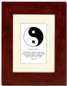 "5x7 Red Mahagony Frame with Yin Yang (Black/White) with Mat by Oriental Design Gallery. $31.95. Made in USA. Place on Wall or Desk. Each print is mounted on acid-free mat board by using acid free adhesive. Frame is made of eco-friendly composite wood materials. Easel and hangers included. Wall Hangers must be installed by customer. Instructions included. This is a Yin Yang Print with an original Chinese Proverb written by Qiao Xiao. The proberb is entitled ""The Balance of Tiao ..."