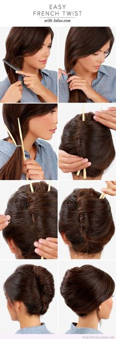 French twist with chop sticks tutorial