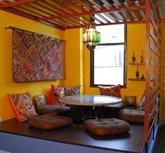 Super Ideas for cozy restaurant seating interiors Indian Home Design, Indian Home Interior, Indian Interiors, Home Room Design, Home Interior Design, House Design, Ethnic Home Decor, Indian Home Decor, Home Decor Furniture