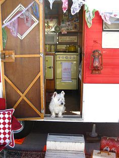 Sweet vintage camper style...(lantern porchlight....how cute:)