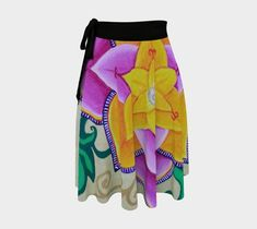 Flower of the Mountain / wrap around skirt / over leggings / one-size fits all / exotic colorful floral spiral scrolling feminine Formal Wear, Casual Wear, Mountain Pictures, Wrap Around Skirt, Circle Design, One Size Fits All, My Images, Take That, Ballet Skirt