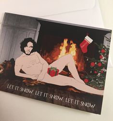 The weather outside is frightful but this Jon Snow holiday card has you covered. This Game of Thrones inspired greeting card features Jon Snow