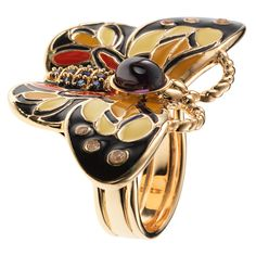 CIRO butterfly ring. Jewelry . Featuring Cirolit white/blue/purple, enamel multicolor, gold plated