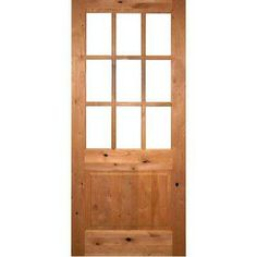 36 in. x 80 in. Craftsman Beveled Glass Left-Hand Inswing 9-Lite Clear Unfinished Knotty Alder Wood Prehung Front Door