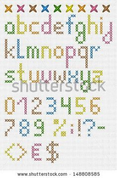 Colorful Cross Stitch Lowercase English Alphabet Stock Vector (royalty-free) 148808585 - DIY and Crafts Cross Stitch Letter Patterns, Cross Stitch Numbers, Cross Stitch Letters, Cross Stitch Bookmarks, Cross Stitch Borders, Cross Stitch Art, Simple Cross Stitch, Cross Stitch Designs, Cross Stitching