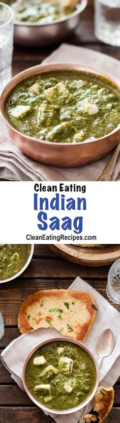 I love Indian food and have tried lots, but indian saag is my favorite by far. I always order it at my favorite Indian restaurant, but I actually like this recipe better than the restaurant and it's not even very hard to make! {Clean Eating, Gluten-Free, Vegetarian)