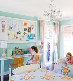 Turquoise is a fun and bright color for little girls' bedrooms! More kid's decorating ideas: http://www.bhg.com/rooms/kids-rooms/girls/bedrooms-for-girls/?socsrc=bhgpin092413turquoise&page=11