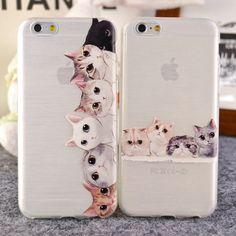 Capa para iphone 6 para o iphone 6 mais para o iphone 5S 5 silicone, antiderrapante bonito gato para apple iphone 5 5S 5c 6 plus 6 4 4S projeto tpu caso macio volta caso bonito silmple