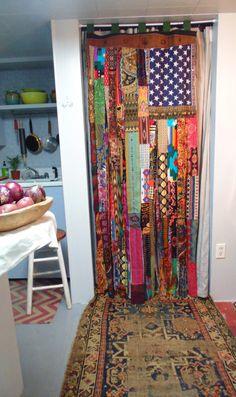 Bohemian door curtain American Flag metal by TheSleepyArmadillo www.thesleepyarmadillo.com