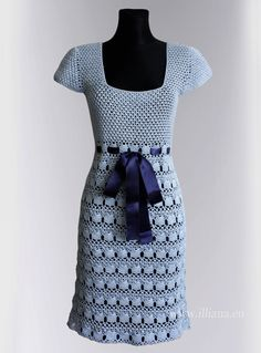 Hand - crocheted. 60s inspired cap-sleeved dress, fitted at the waist and flares to the knee.    Tied at the middle with a detachable grosgrain bow belt.    Colors : Lighte blue dress . Material : Cotton 100%    Condition : Brand new  Availability: In Stock.    Size :S to M   Chest : 35-37  Waist 28 - 31  Hips 34-36  Length : 37  Dry clean only      Will ship to worldwide.    All orders are shipped by Airmail . Usually delivery takes 10 business days.   Will e-mail you your shipping details…