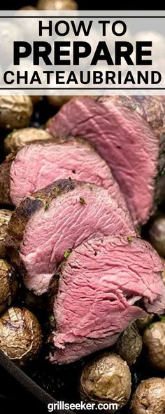 The meat itself is the center-cut portion of a beef tenderloin. For some, that alone qualifies as chateaubriand. Others, however, would argue that in order for this cut to be considered a true chateaubriand, it should be prepared with a demi glace, a red wine, or a béarnaise sauce. I'm not of that school of thought—just sayin'. Good Steak Recipes, Barbecue Recipes, Beef Recipes, Bearnaise Sauce, Pan Seared Steak, Omaha Steaks, Grilled Beef, Grilling Tips, Best Steak