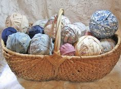 Large Buttocks Basket filled with Old Fabric Rag Balls