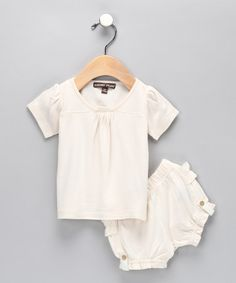 Barefoot Dreams-Cream Bamboo Tee & Bloomers