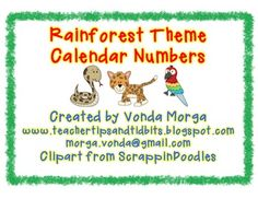 These calendar numbers are perfect for the Rainforest or Jungle themed classroom. They should be printed onto white cardstock and laminated for durability. These could also be used for student numbers in pocket charts. Rainforest Preschool, Rainforest Classroom, Jungle Theme Classroom, Rainforest Theme, Future Classroom, Classroom Themes, Classroom Organization, Calendar Numbers, Student Numbers