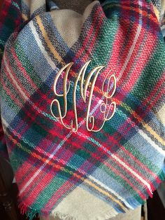 Monogramed Blanket Scarf by AuntieJsDesigns on Etsy