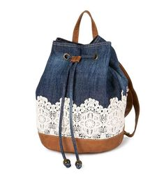 Claire's denim and Crocheted Lace Backpack with Faux Leather  #Claires #Bookbag