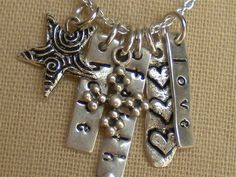 Hope, Faith, and Love Charm Necklace in Sterling Silver on Etsy
