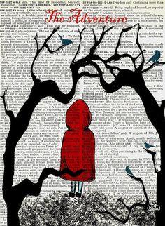 Little Red Riding Hoods Adventure Vintage Dictionary Page Book Original Art Little Red Ridding Hood, Red Riding Hood, 7 Arts, Illustrations, Illustration Art, Big Bad Wolf, Fairytale Art, High School Art, Red Hood