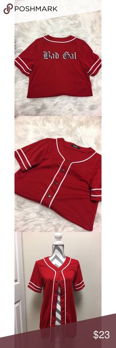 """Missguided Oversized Red """"Bad Gal"""" Baseball Jersey Size: UK6=US2=XS 
