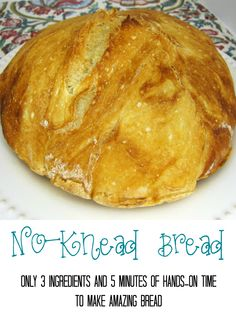 No-Knead Bread Recipe - only 3 ingredients and 5 minutes of hands-on time to make a loaf of amazing bread!