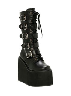 Demonia By Pleaser Black PU Buckle Boots | Hot Topic
