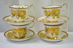 """Set of 4 """"Royal Albert - Golden Rose"""" Teacups and Saucers"""