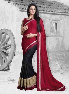 Dazzling Maroon And Black Half N Half Lace Border Party Wear Designer Sarees   #Sarees #Designer  http://www.angelnx.com/Sarees