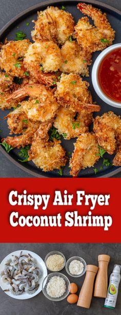 Air Fryer Recipes Shrimp, Coconut Shrimp Recipes, Air Fryer Oven Recipes, Air Frier Recipes, Air Fryer Dinner Recipes, Shrimp Recipes Easy, Seafood Recipes, Appetizer Recipes, Cooking Recipes