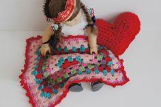 American Girl Doll crochet granny square blanket