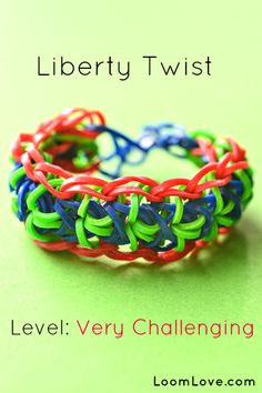 How-to: Make the Liberty Twist Rubber Band Bracelet #rainbow #loom
